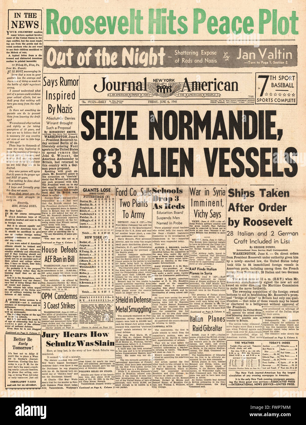 1941 front page  New York Journal American U.S. seizes French Vessels in American ports and Roosevelt says peace - Stock Image