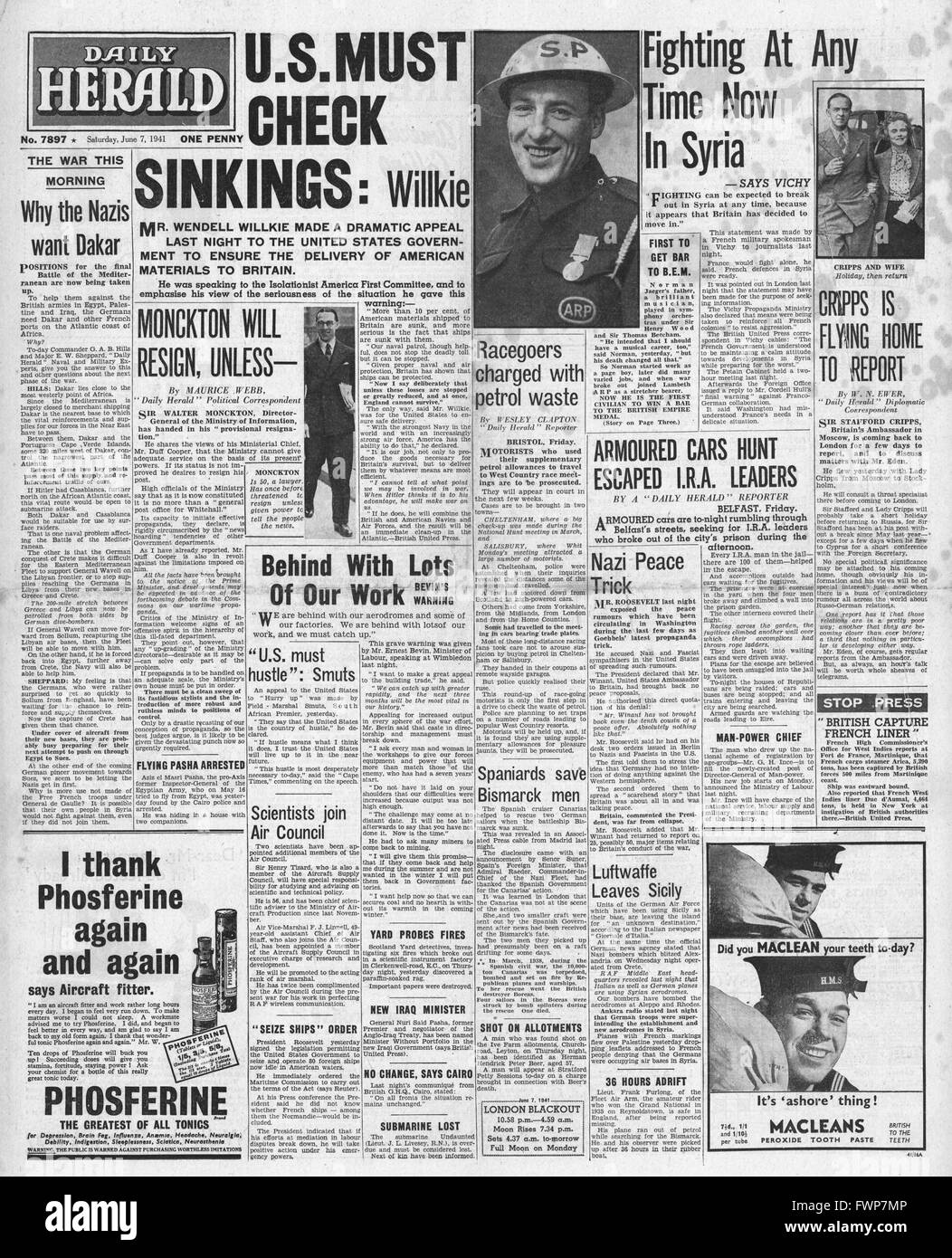 1941 front page  Daily Herald Wendell Willkie call to ensure the delivery of U.S.aid to Britain - Stock Image