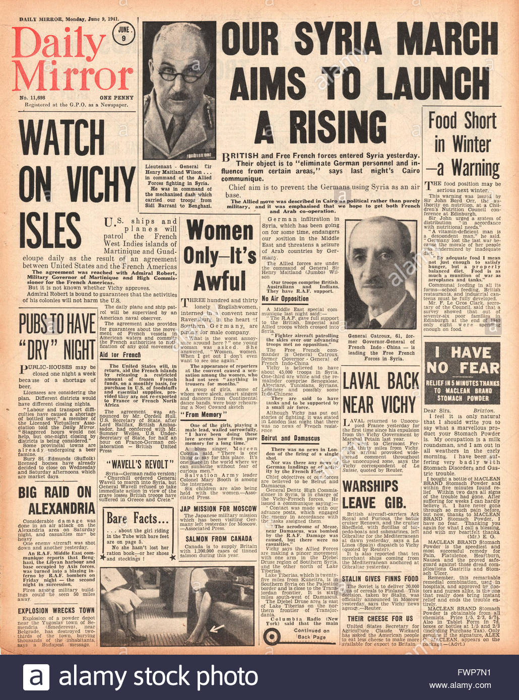 1941 front page  Daily Mirror British and Free French Forces enter Syria - Stock Image