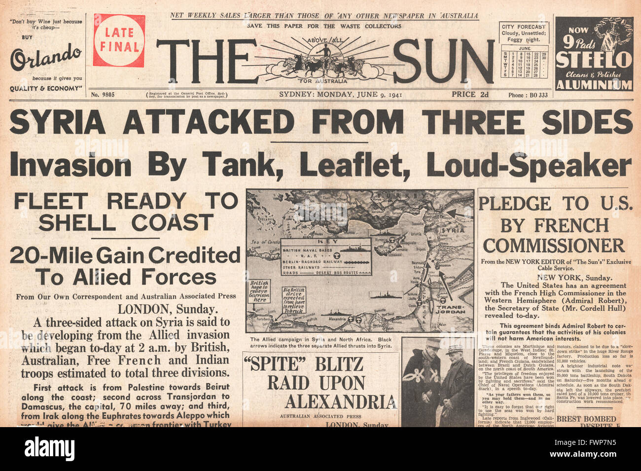 1941 front page  The Sun (Sydney) British and Free French Forces enter Syria - Stock Image