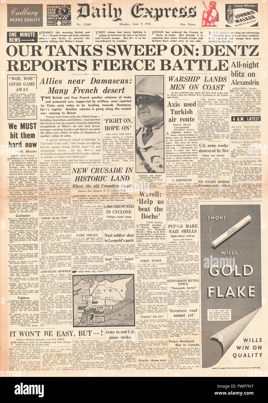 1941 front page  Daily Express British and Free French Forces enter Syria - Stock Image