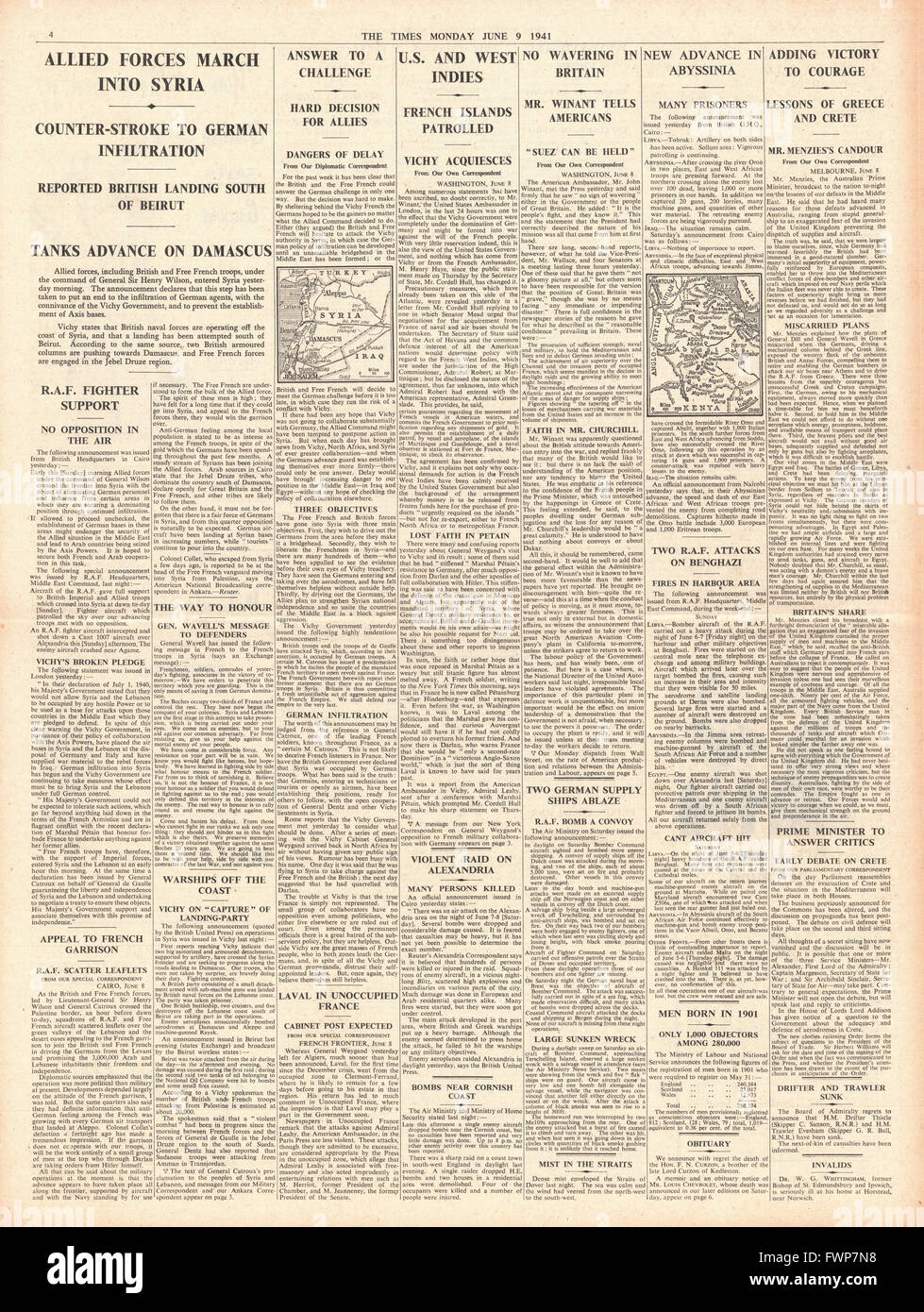 1941 page 4 The Times British and Free French Forces enter Syria - Stock Image