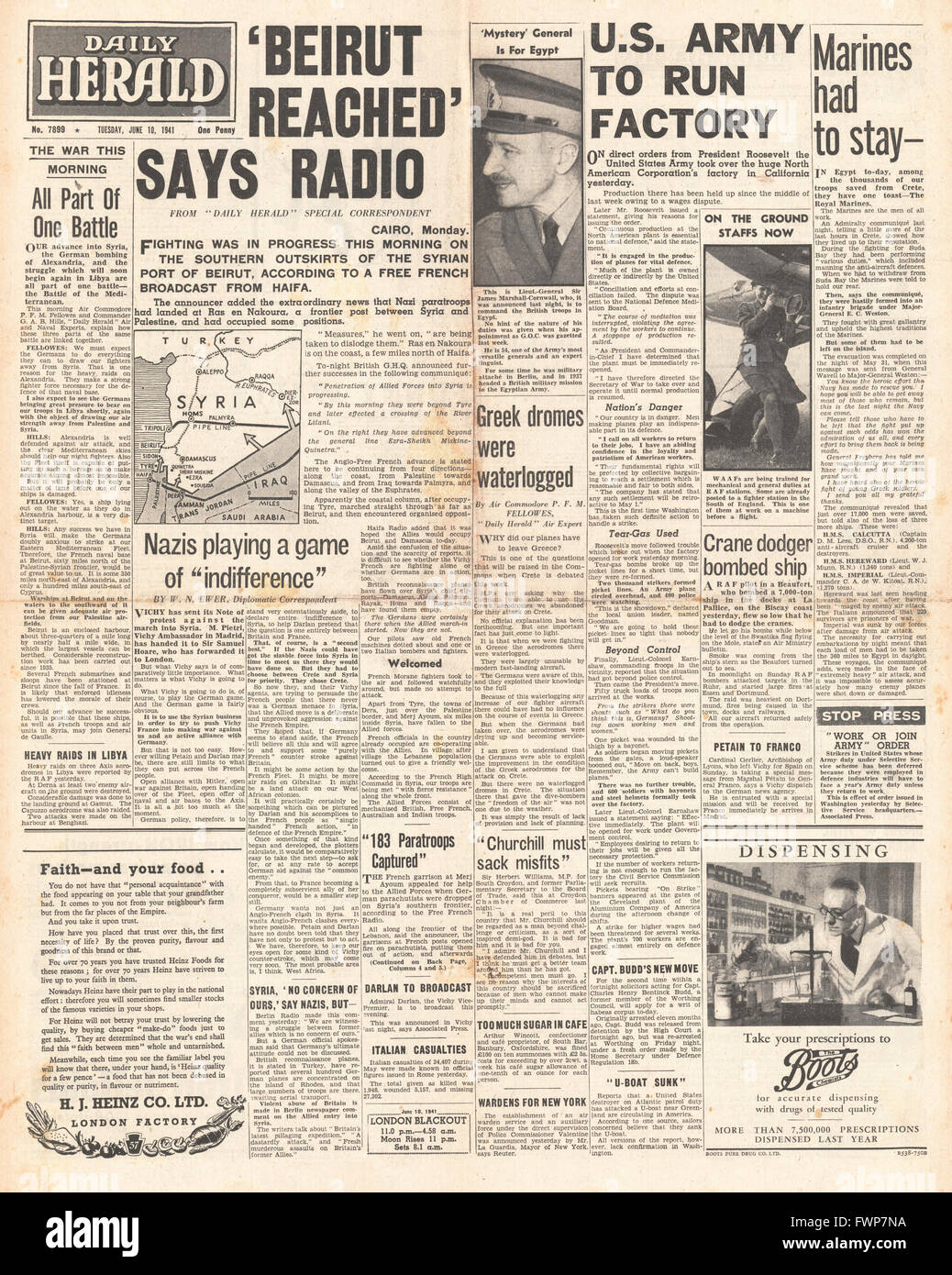 1941 front page  Daily Herald Battle for Syria - Stock Image