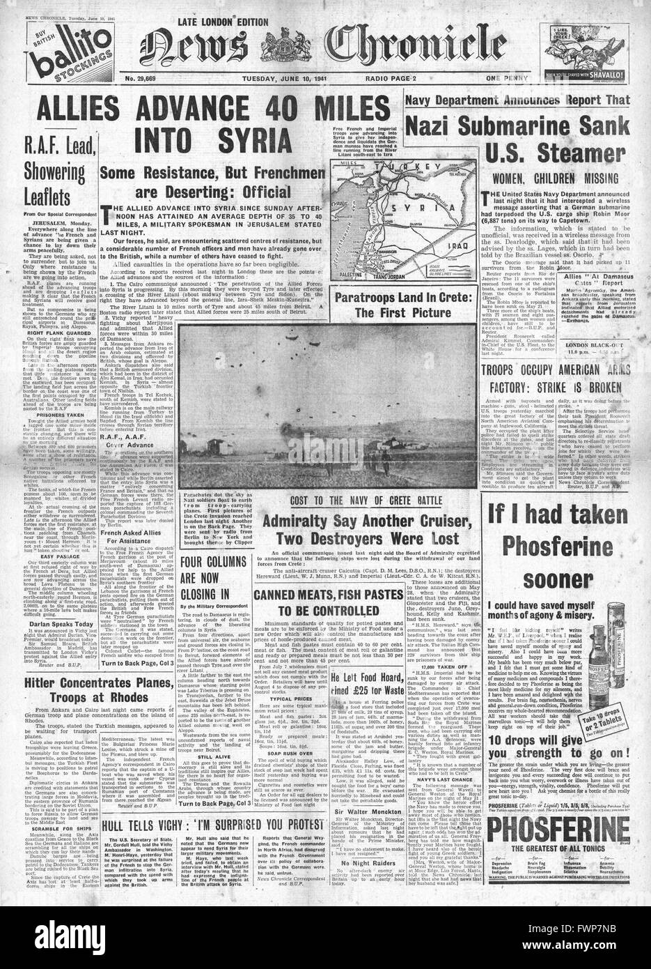 1941 front page News Chronicle Allies advance in Syria and SS Robin Moor sunk by U-Boat U69 - Stock Image
