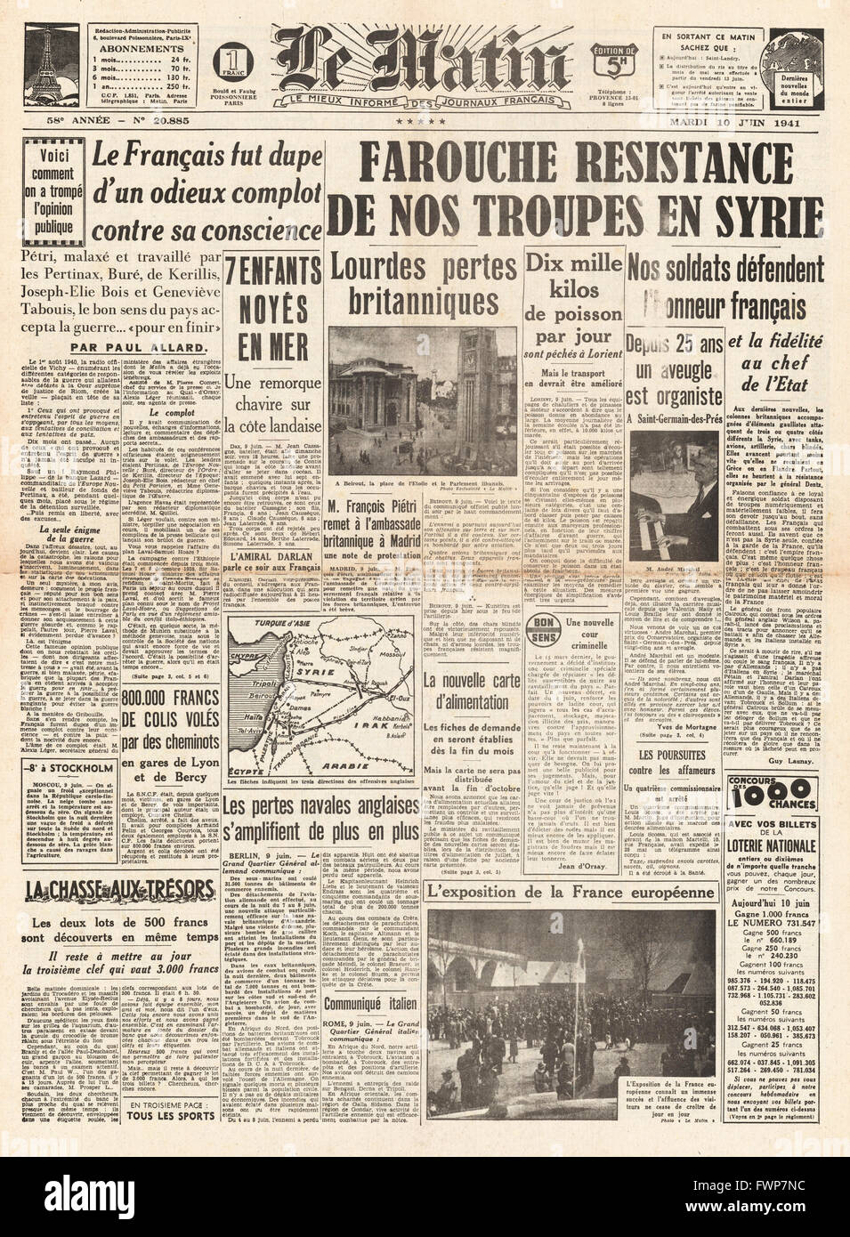 1941 front page  Le Matin Battle for Syria - Stock Image