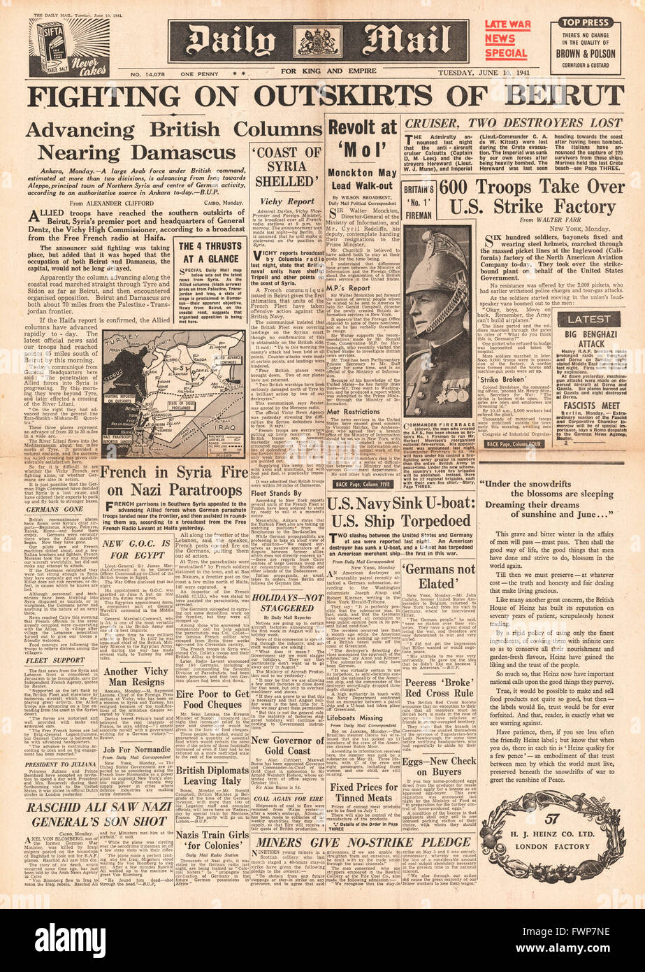 1941 front page  Daily Mail Allied Forces reach Beirut - Stock Image