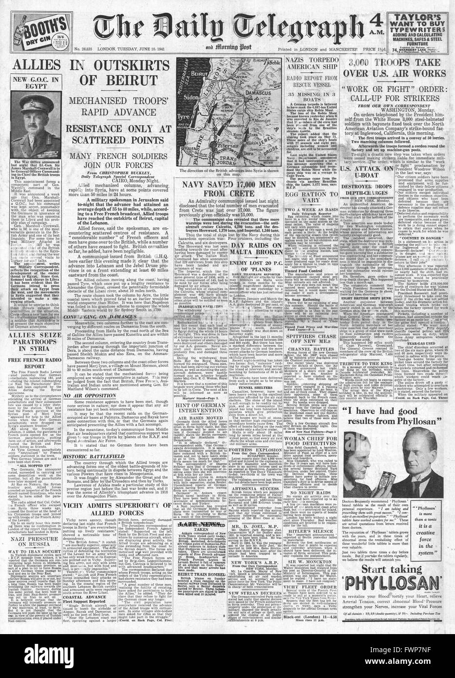 1941 front page  Daily Telegraph Allied Forces reach Beirut - Stock Image