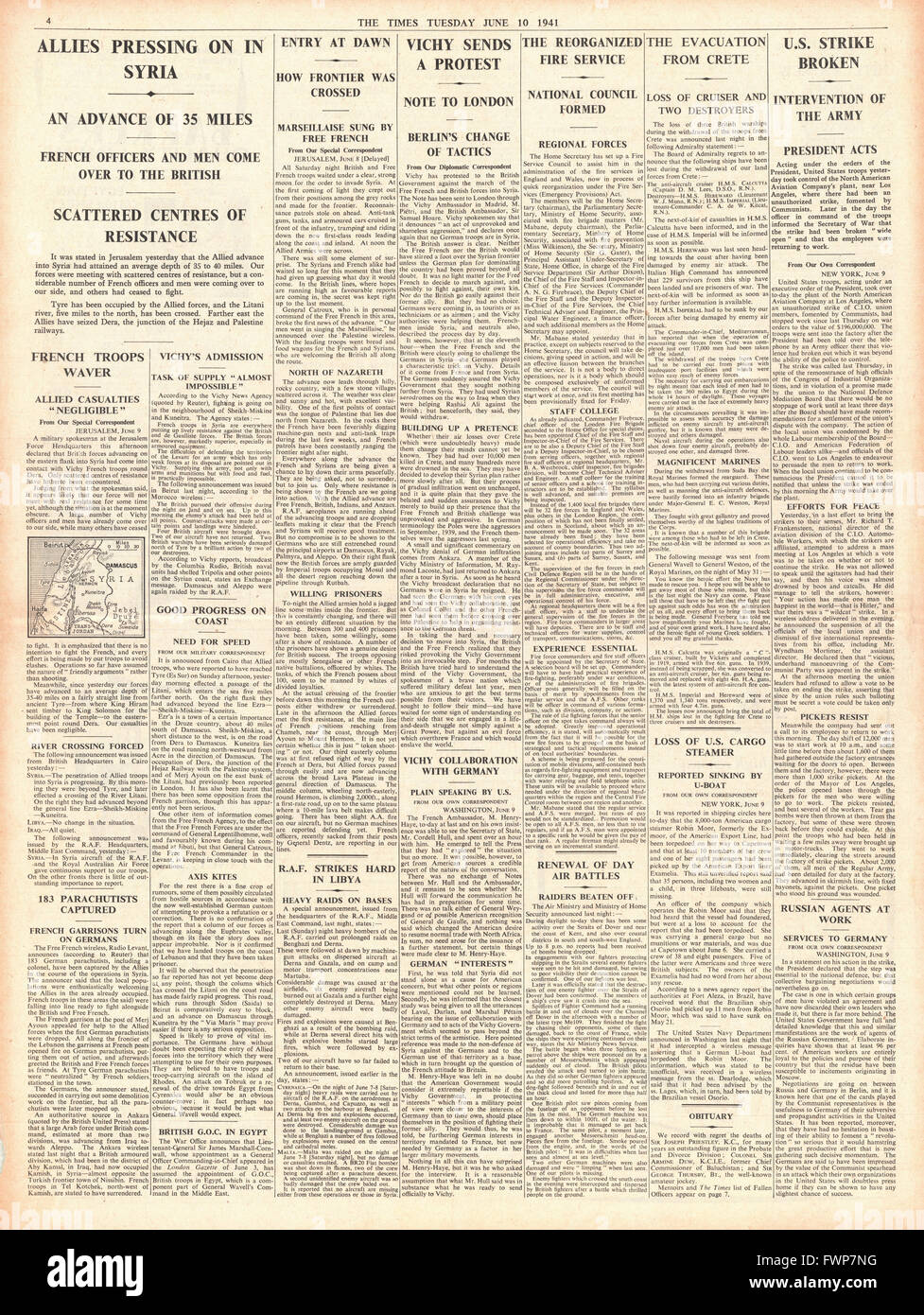 1941 page 4 The Times Allied Forces reach Beirut - Stock Image