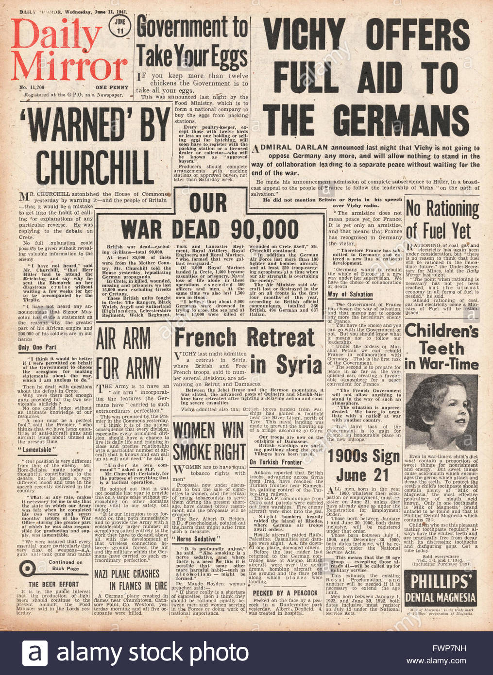 1941 front page  Daily Mirror Vichy France offers full aid to Germany - Stock Image