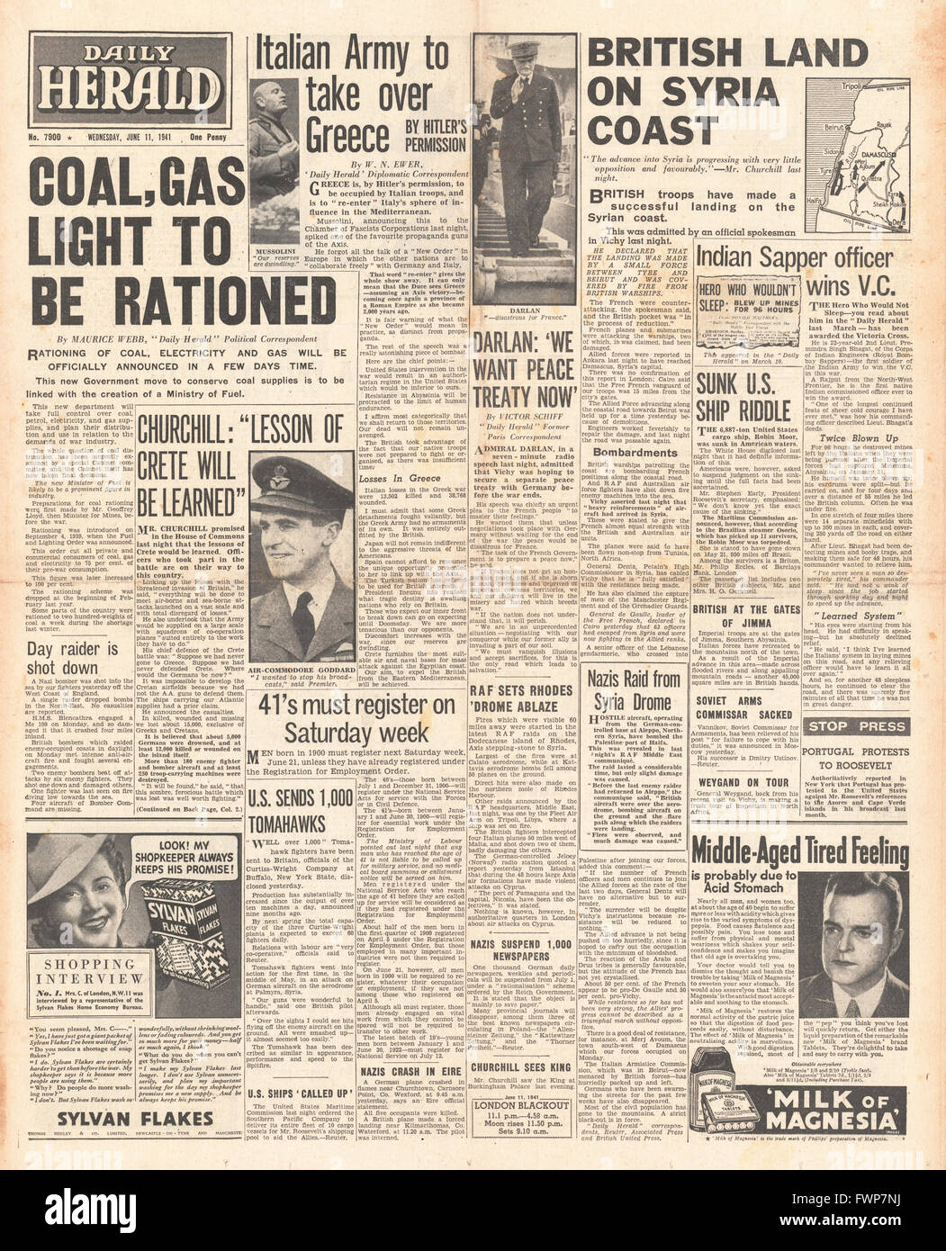 1941 front page Daily Herald Coal, Electricity and Gas to be rationed, Italian Army to take over Greece and British - Stock Image