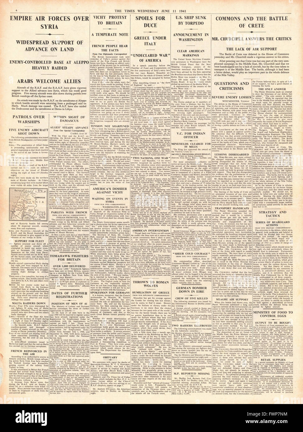 1941 page 4 The Times British Forces advance on Damascus - Stock Image