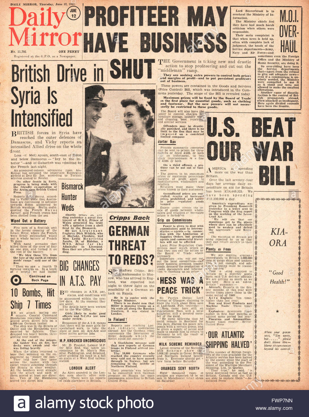 1941 front page  Daily Mirror Government drive to stop profiteering - Stock Image