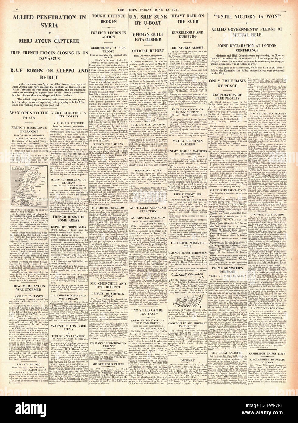 1941 page 4 The Times Allies pledge to defeat Nazi Germany, Allied Forces advance in Syria and RAF bomb Aleppo and - Stock Image