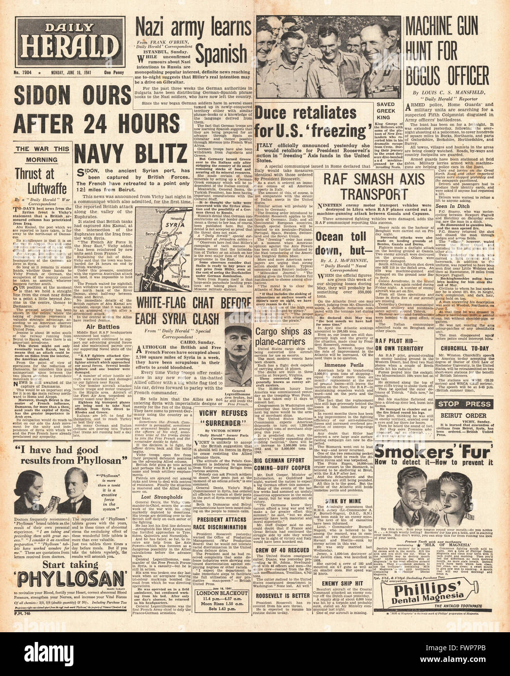 1941 front page  Daily Herald British Forces capture Syrian port of Sidon - Stock Image