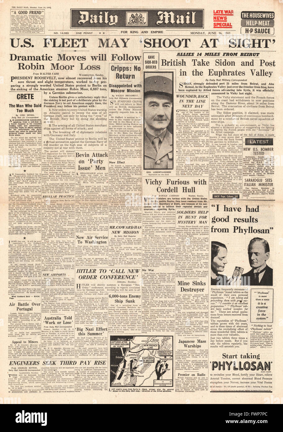 1941 front page  Daily Mail Roosevelt protests over sinking of SS Robin Moor and British Forces capture Syrian port - Stock Image
