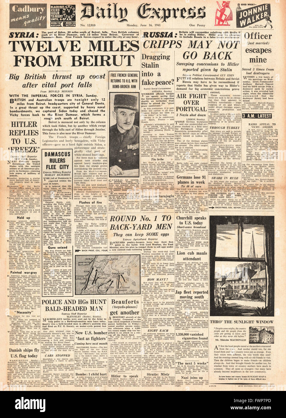 1941 front page Daily Express Imperial Forces advance to Beirut - Stock Image