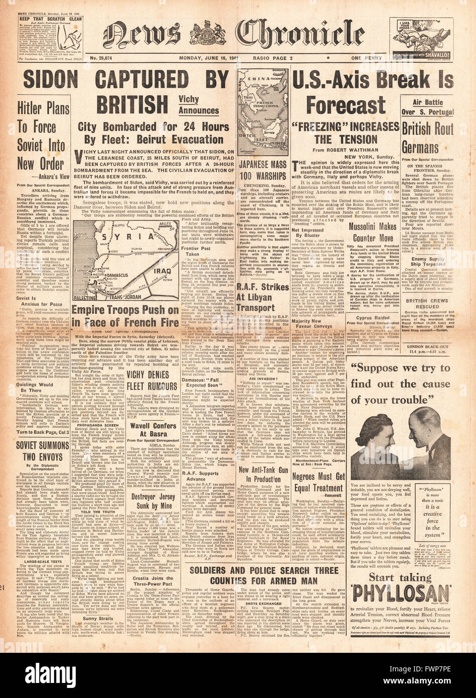 1941 front page  News Chronicle British Forces capture Syrian port of Sidon and U.S. - Axis diplomatic tension - Stock Image