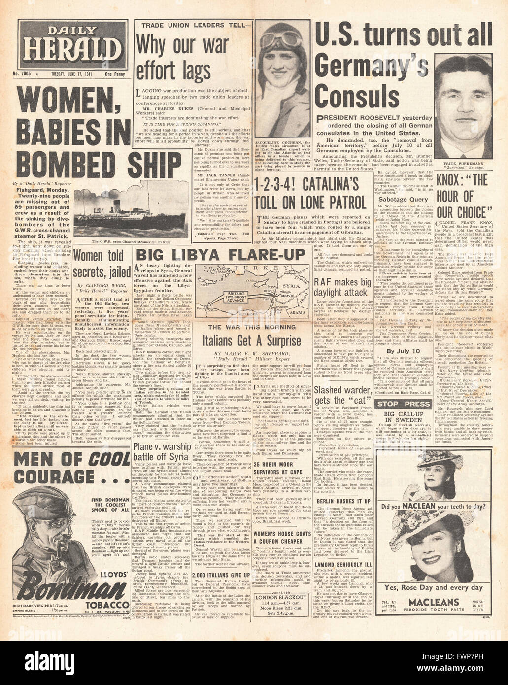 1941 front page  Daily Herald Cross Channel Steamer St.Patrick sunk by Luftwaffe Bombers off Pembrokeshire coast - Stock Image