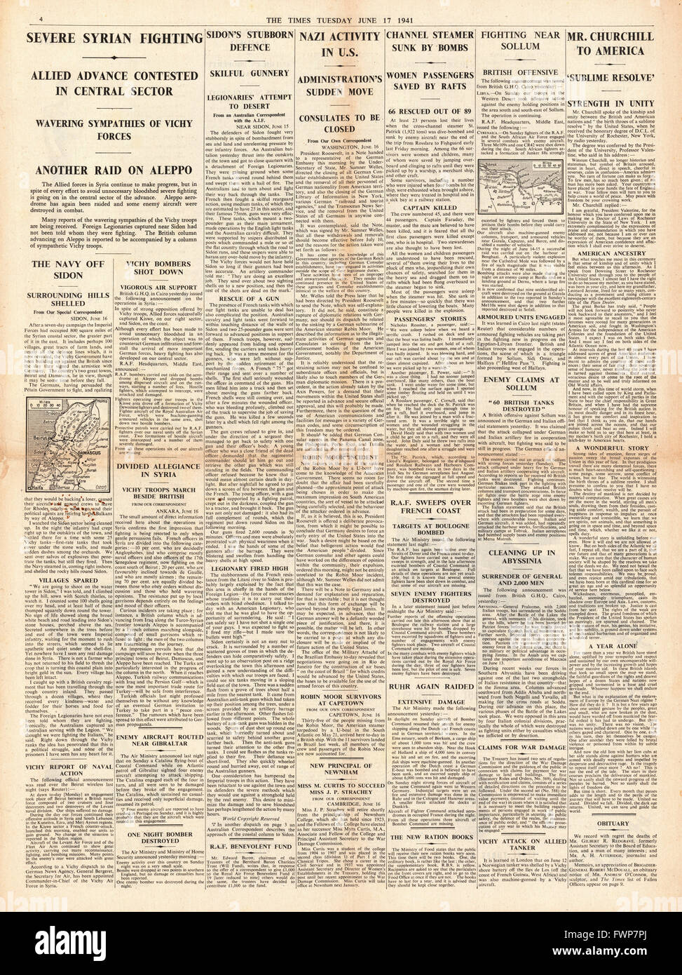 1941 page 4 The Times Cross Channel Steamer St.Patrick sunk by Luftwaffe Bombers off Pembrokeshire coast, Battle - Stock Image