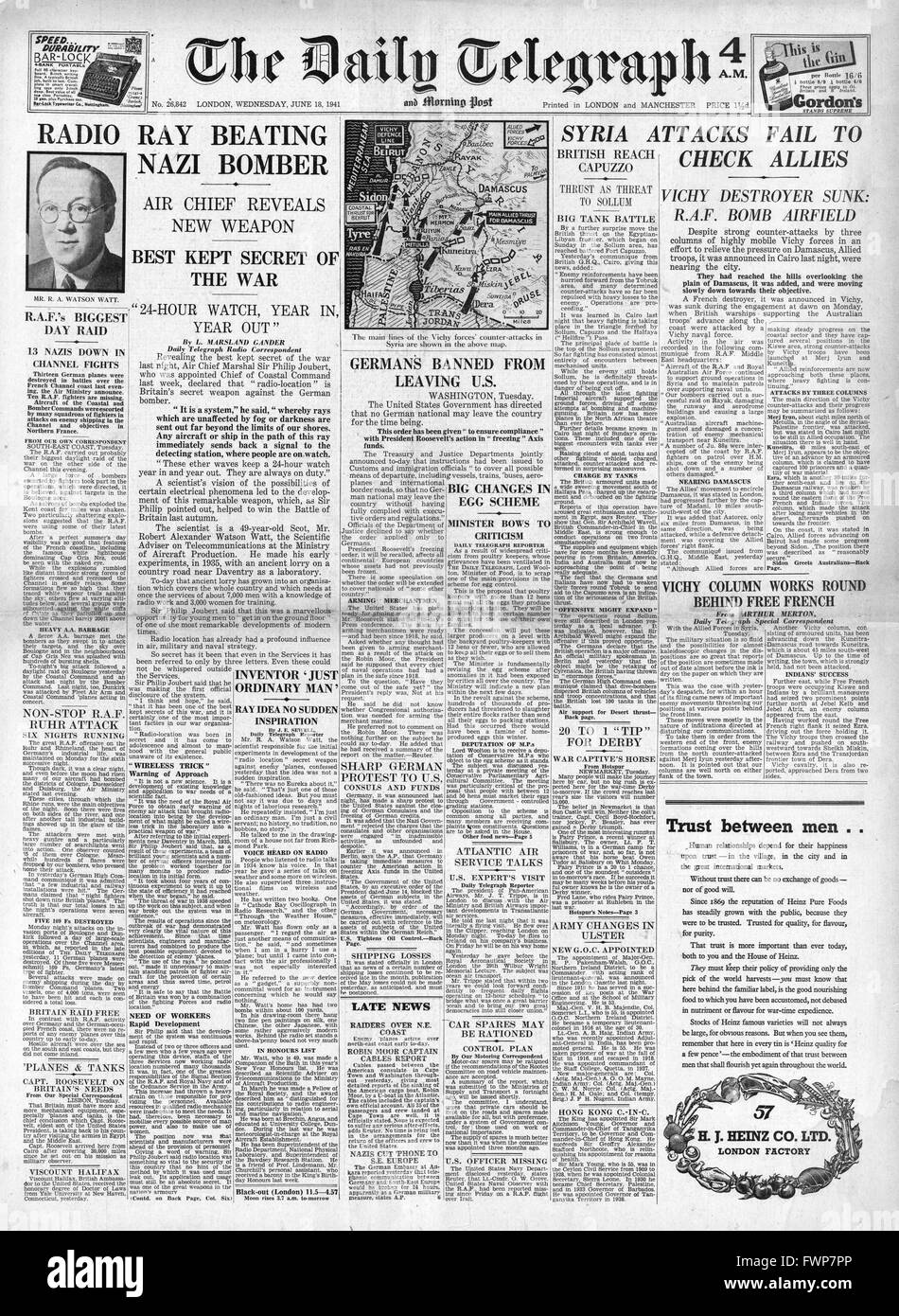 1941 front page Daily Telegraph Radiolocation to detect German Bombers - Stock Image