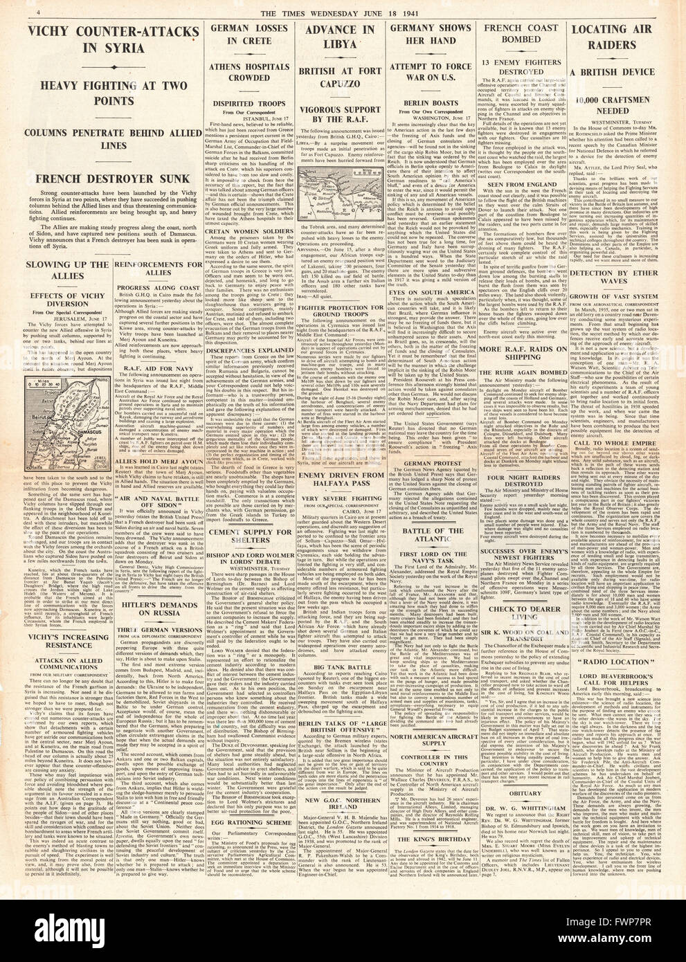 1941 page 4 The Times Radiolocation to detect German Bombers - Stock Image