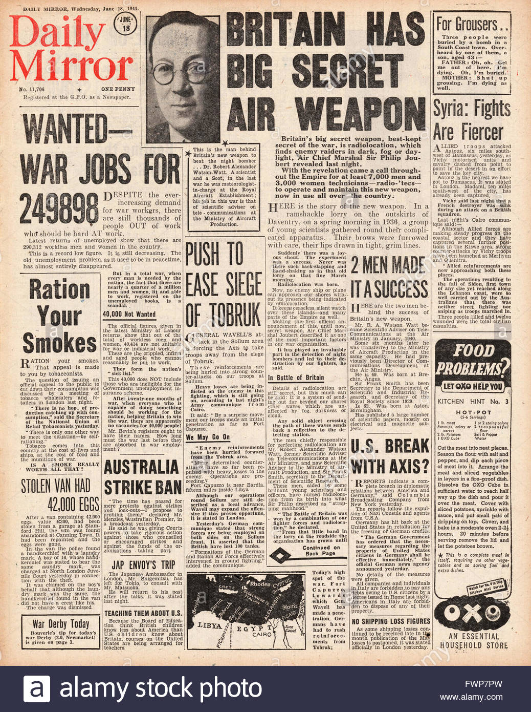 1941 front page Daily Mirror Radiolocation to detect German Bombers - Stock Image