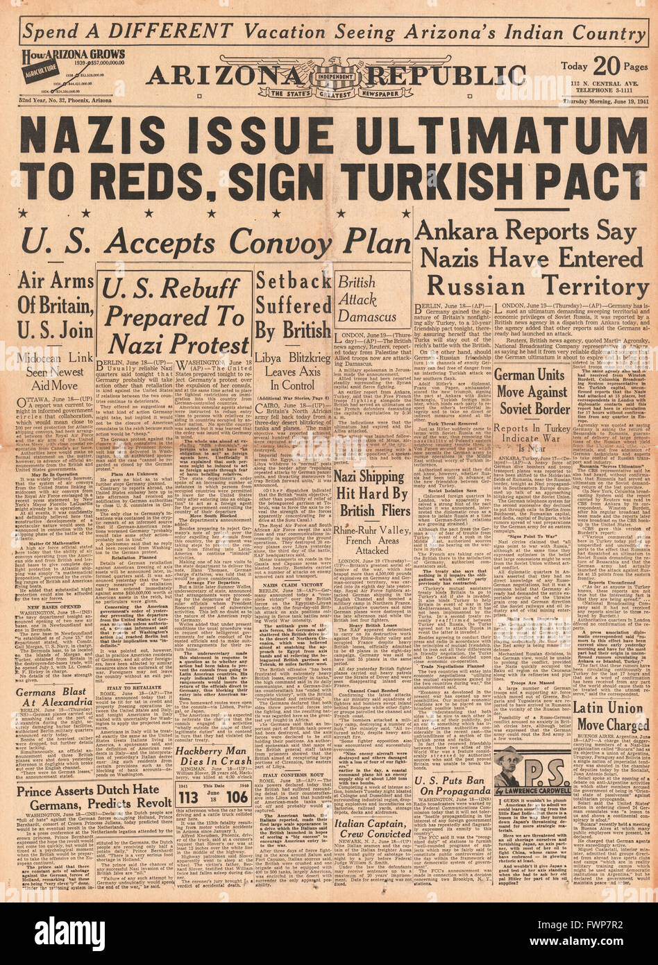1941 front page  Arizona RepublicTurkey signs pact with Germany and Battle for Syria - Stock Image