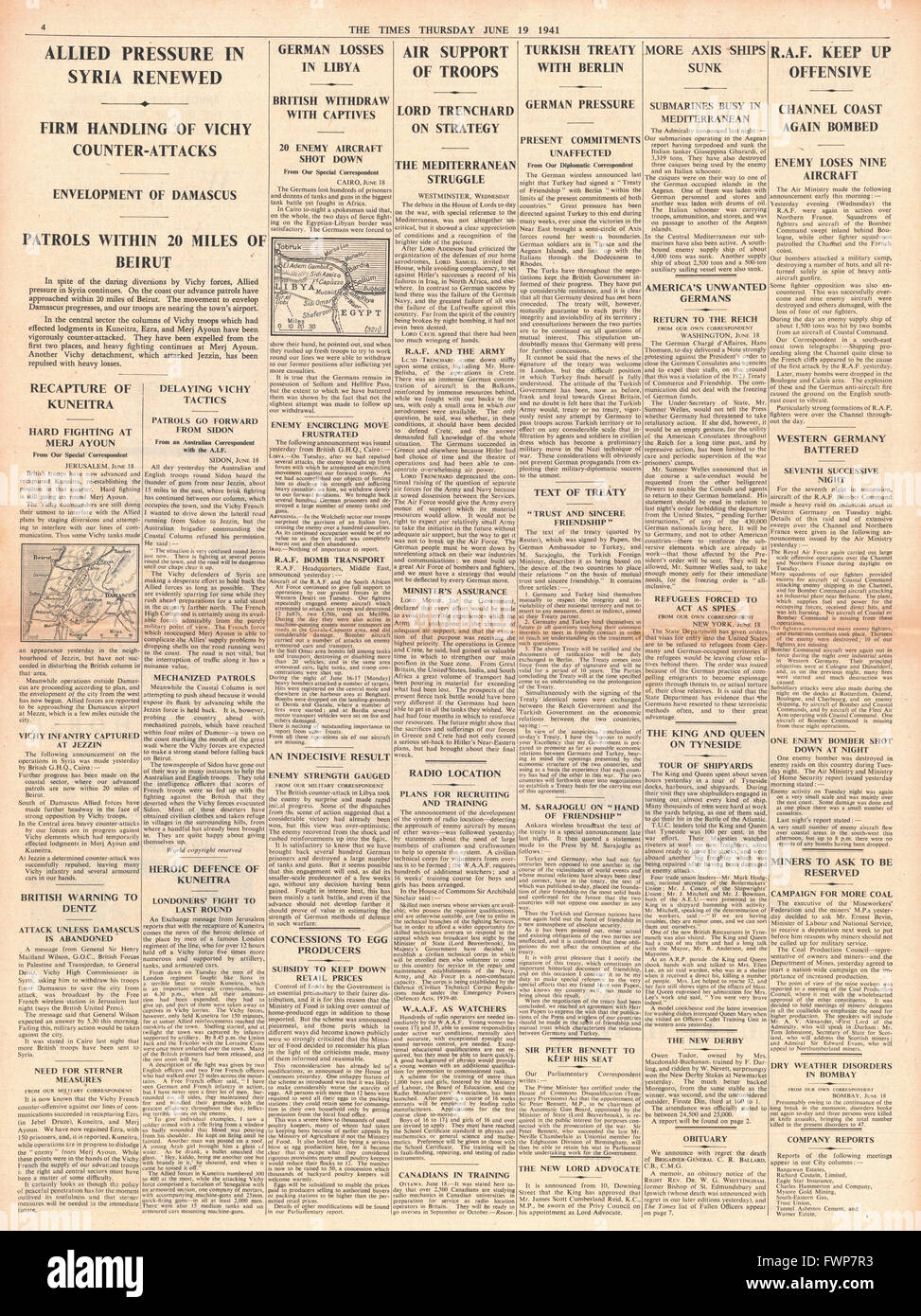 1941 page 4 The Times Turkey signs pact with Germany and Battle for Syria - Stock Image