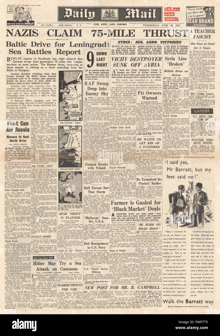 1941 front page Daily Mail German Army drive on Leningrad Stock Photo