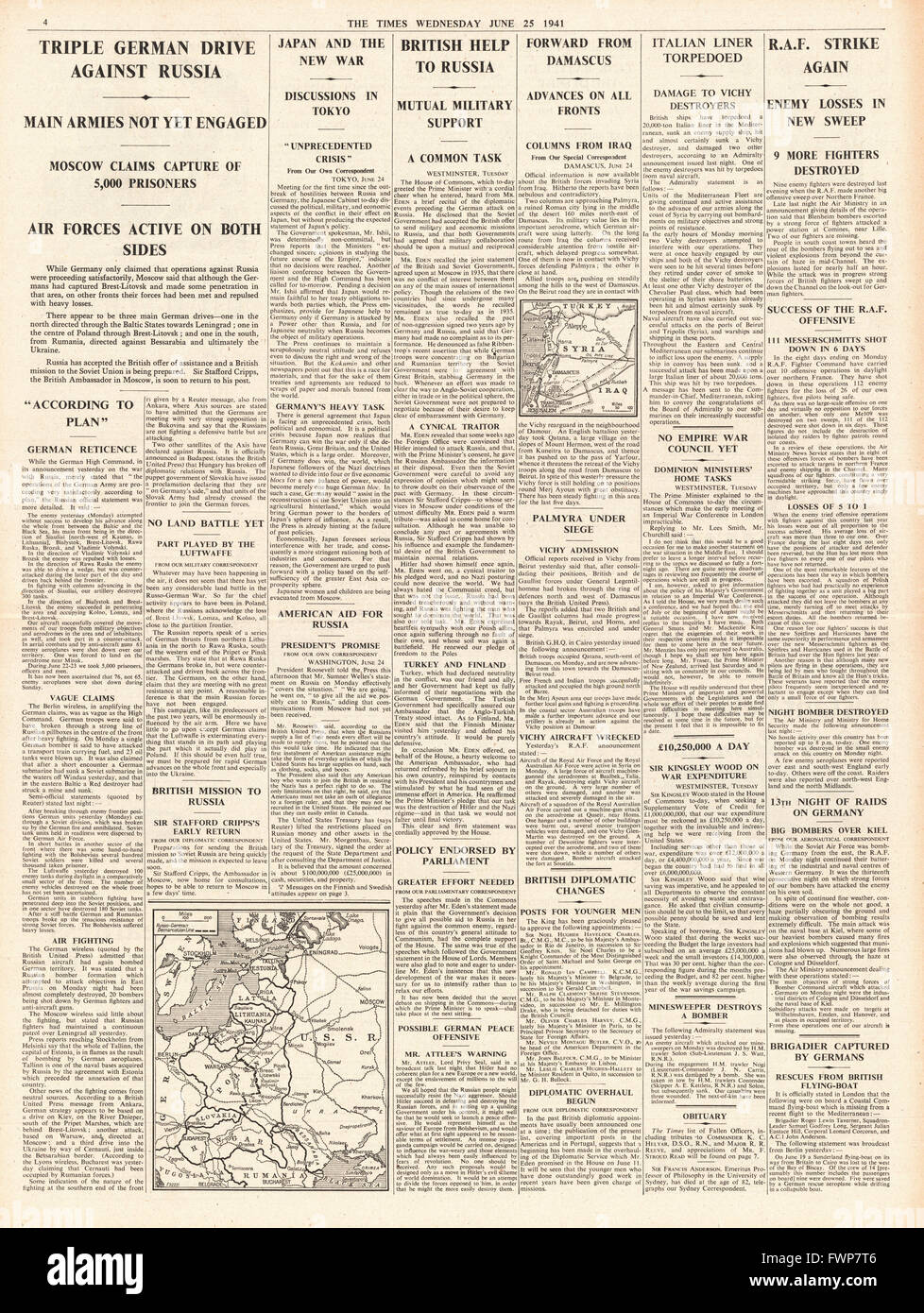 1941 page 4 The Times Triple German drive on Russia Stock Photo
