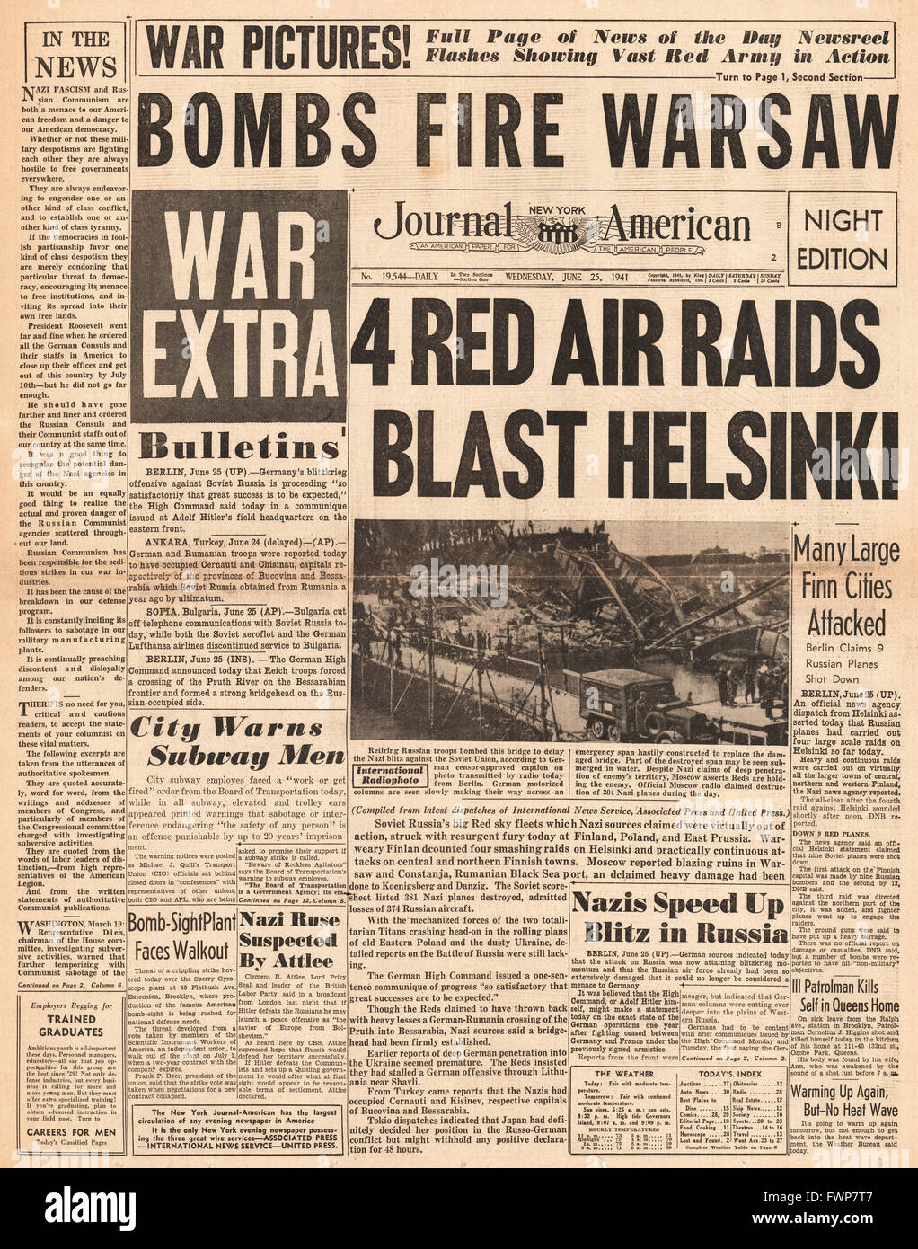1941 front page  New York Journal American Soviet Air Raids on Helsinki Stock Photo