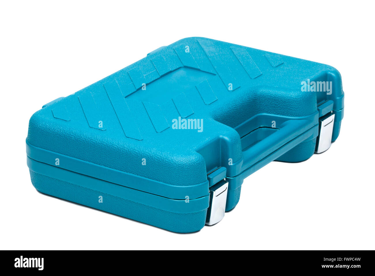 Blue toolbox isolated over white background - Stock Image
