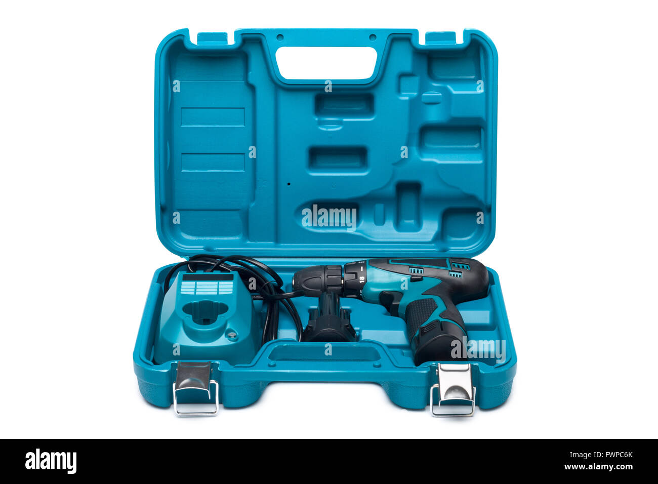 Blue toolbox with screw driver isolated over white background - Stock Image