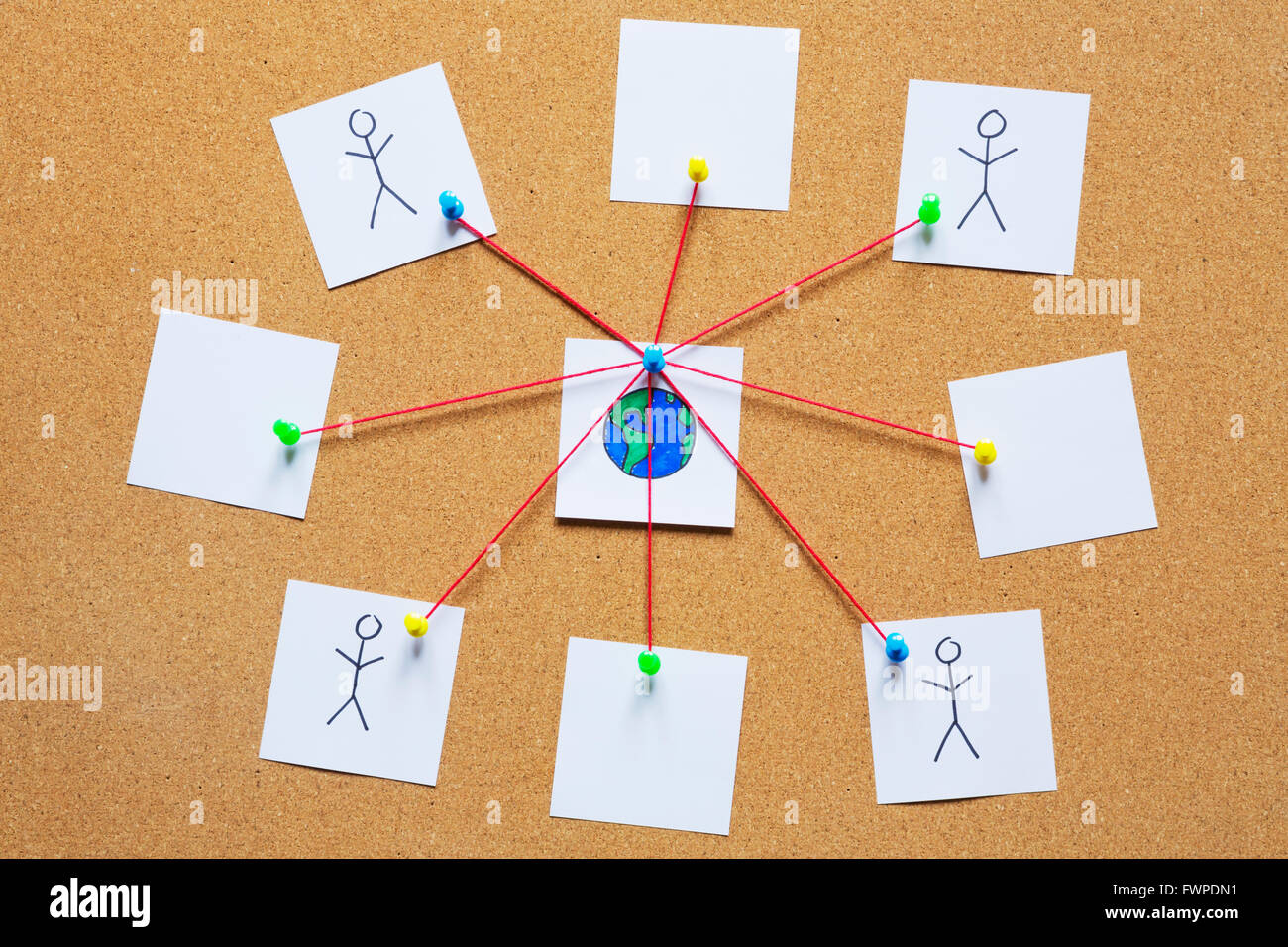 Visualization of a global network on a cork bulletin board. - Stock Image