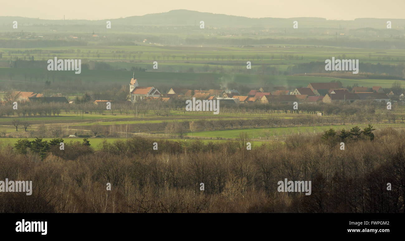 Myslakow village among fields pictured in the old school manner vignetting - Stock Image