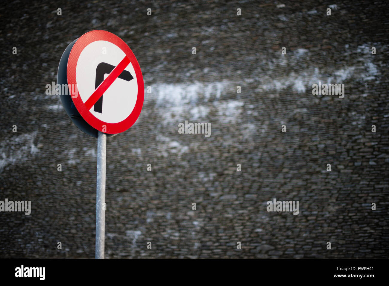 A no right turn road sign UK - Stock Image