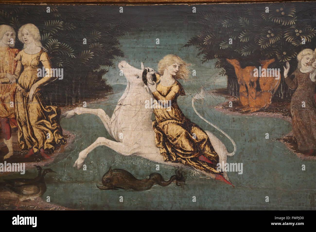 Libera da Verona (1441-1526). Italian painter of the Renaissance.  The Abduction of Europe, 1470. Louvre Museum. - Stock Image