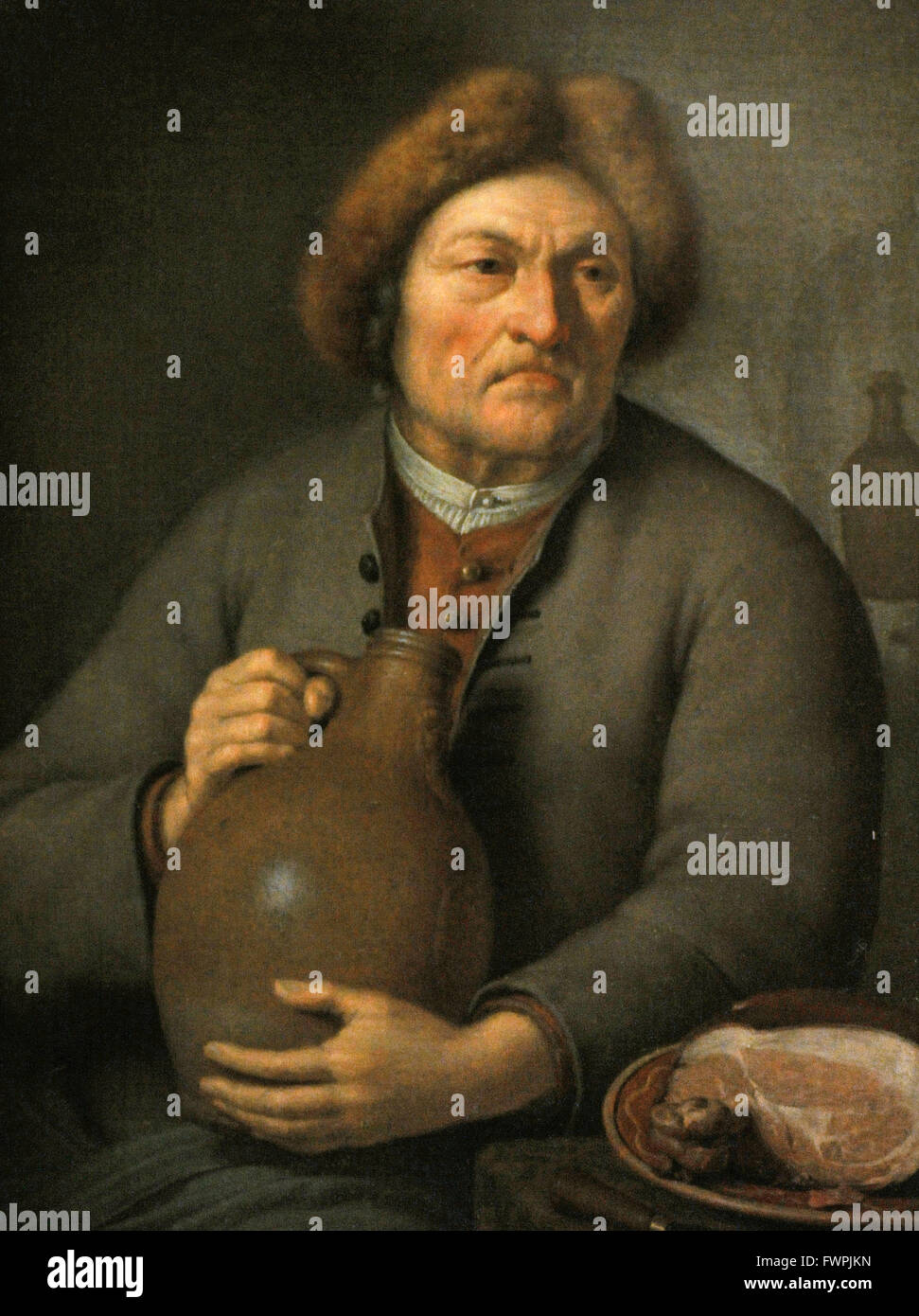 Frans van Mieris the Younger 1689-1763). Dutch baroque painter. Old Peasant Holding a Jug, 1731. The State Hermitage - Stock Image