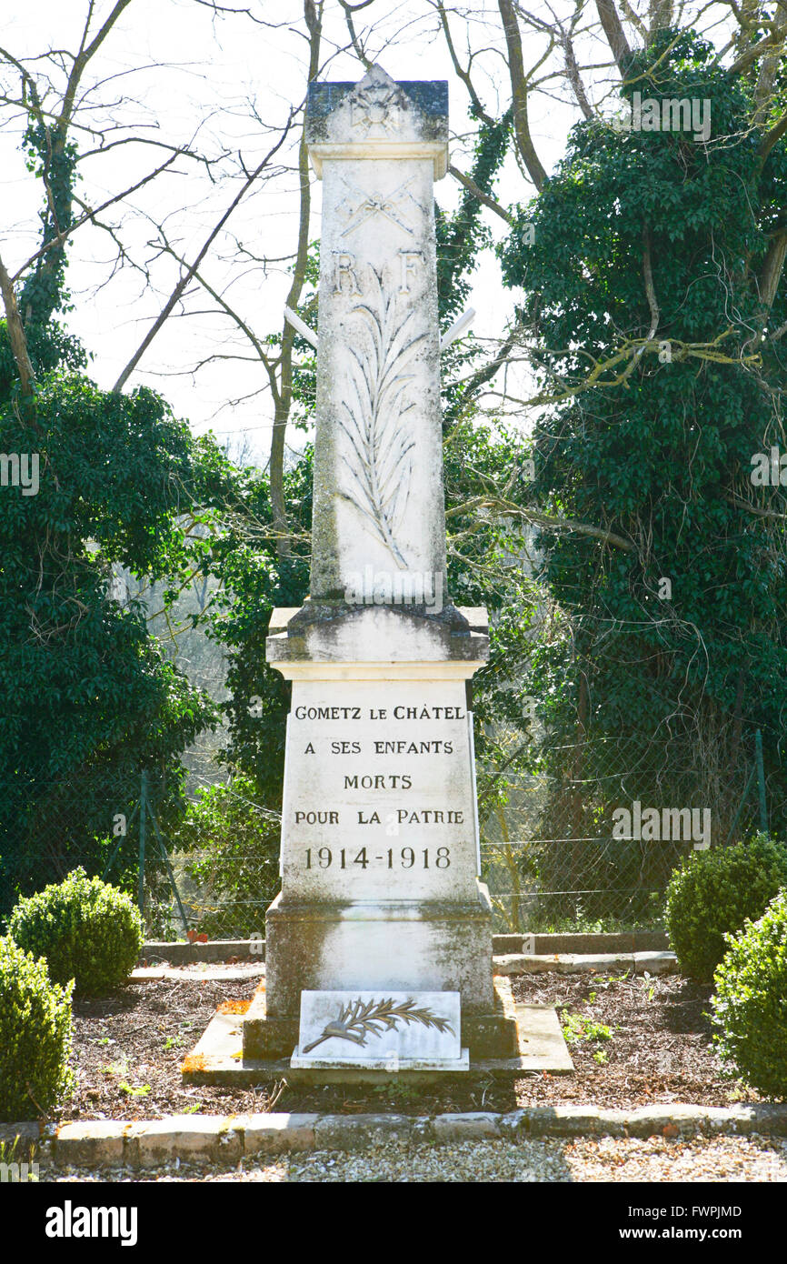 Monument for the people that died in world war one 1914 -1918 in Gometz le Chatel  France - Stock Image