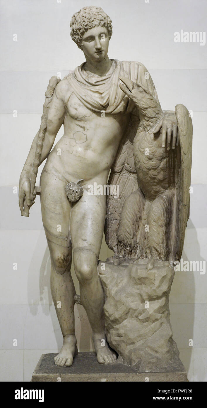 Ganymede with the Eagle. Roman, after Greek original from the Praxiteles school of 3rd century BC. Statue. Marble. - Stock Image