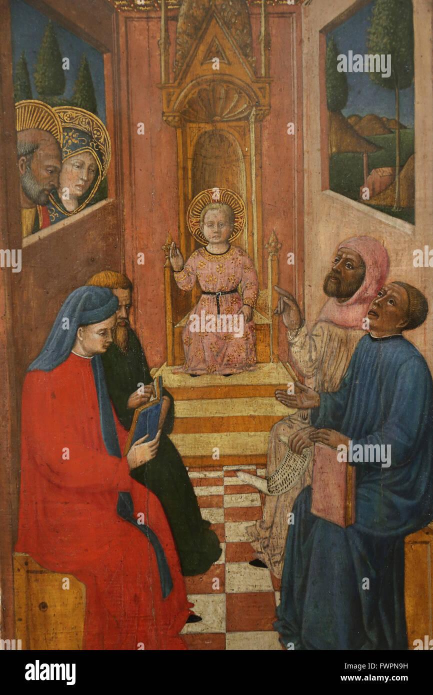 Giovanni Francesco da Rimini (1420-1470). Italian Early Renaissance painter. Life of the Virgin, 1445. Jesus among - Stock Image