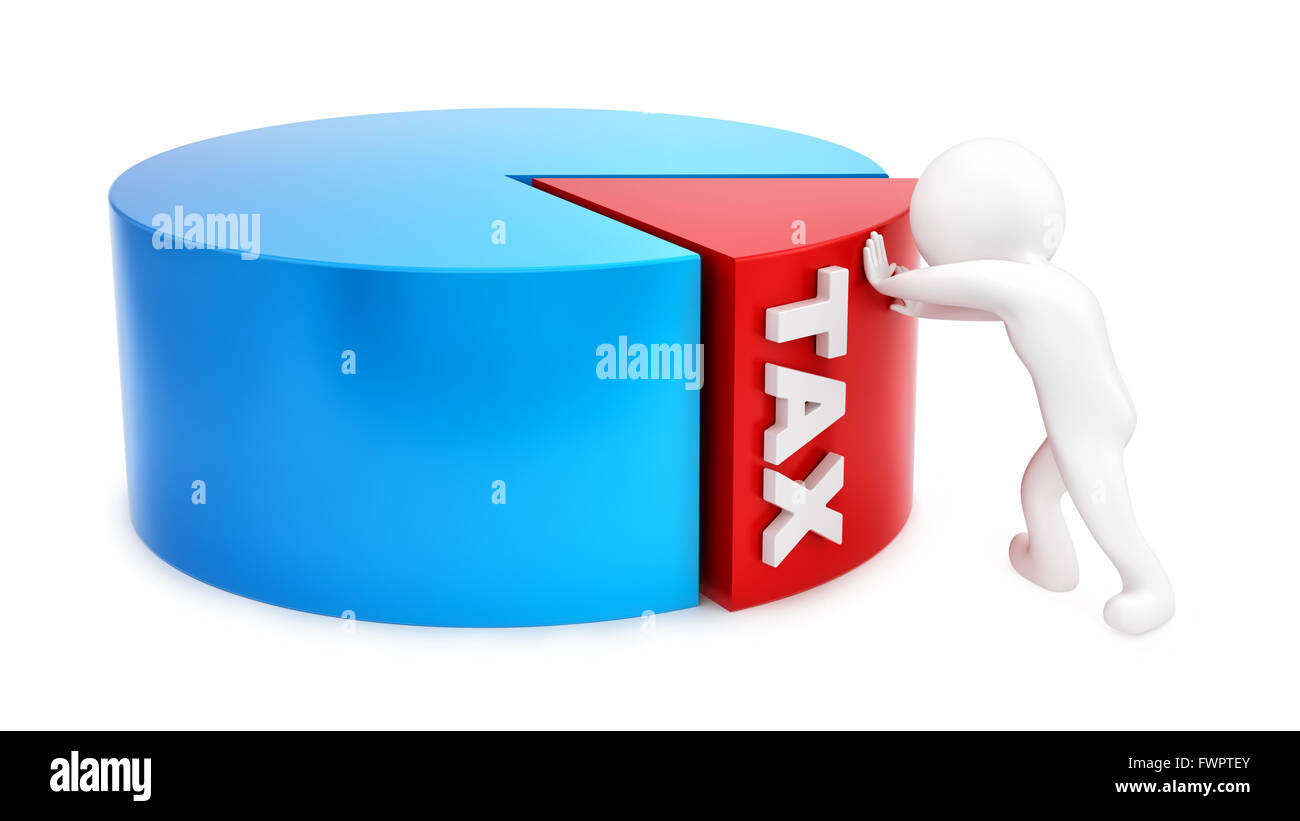render of a man pushing tax slice, isolated on white - Stock Image