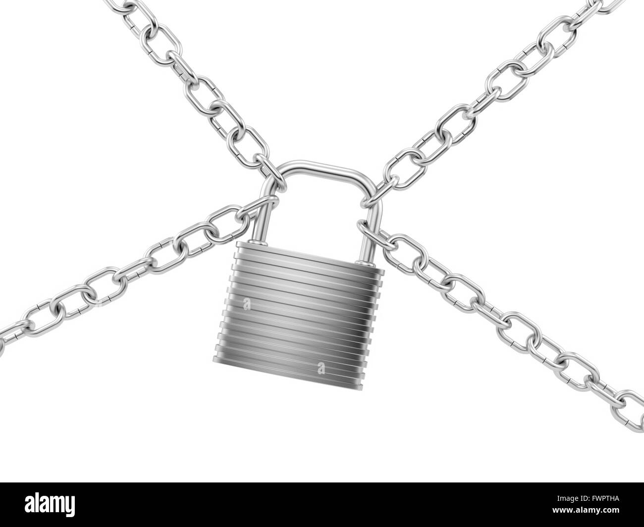render of a silver lock with chains, isolated  on white - Stock Image