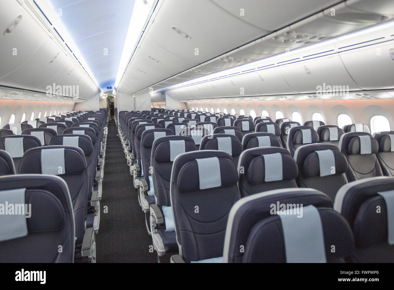 interior of boeing 787 dreamliner stock image
