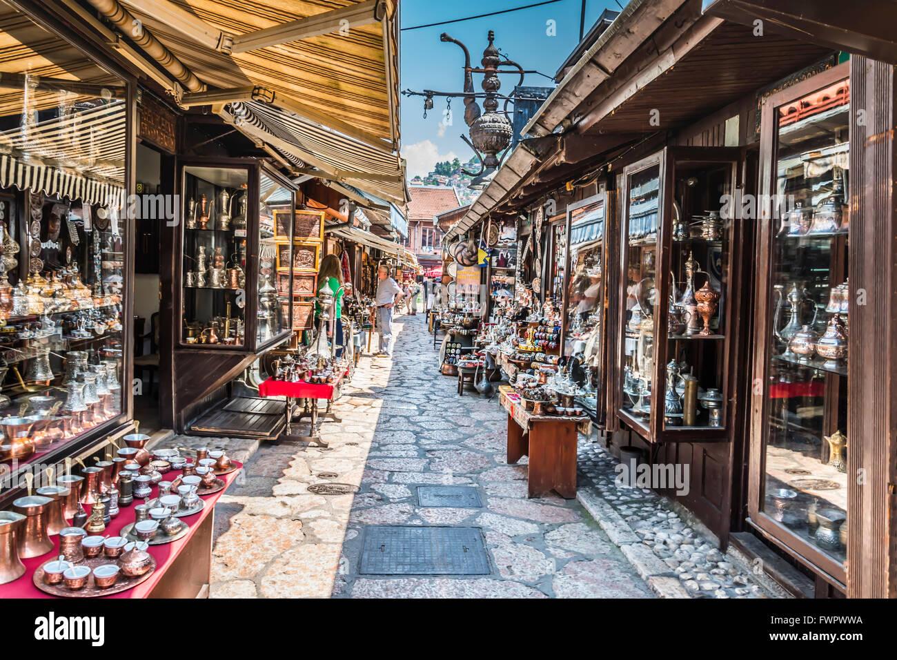 Old craft shops sreet - Stock Image