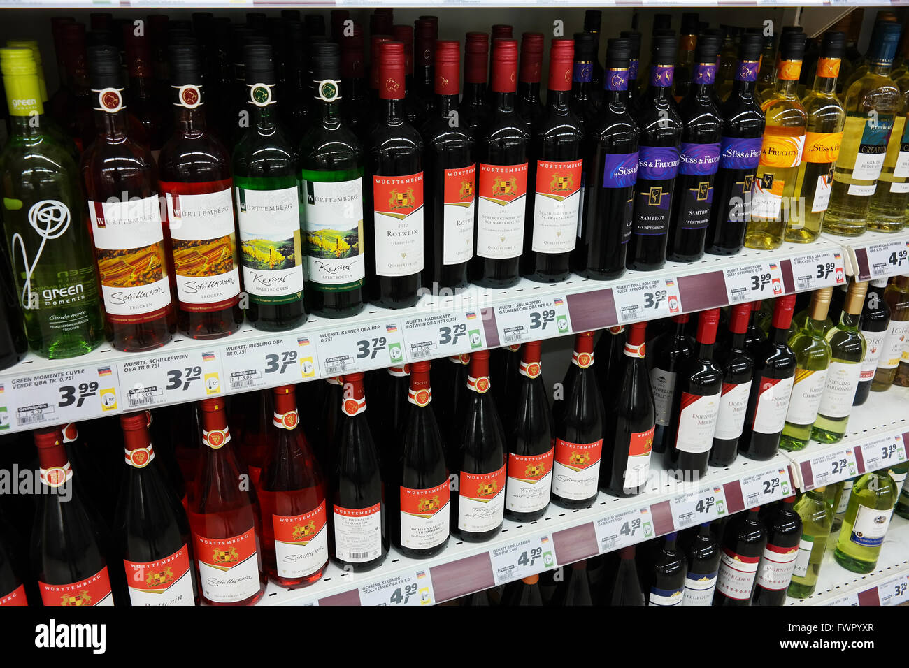Aisle of German wines in a supermarket. - Stock Image