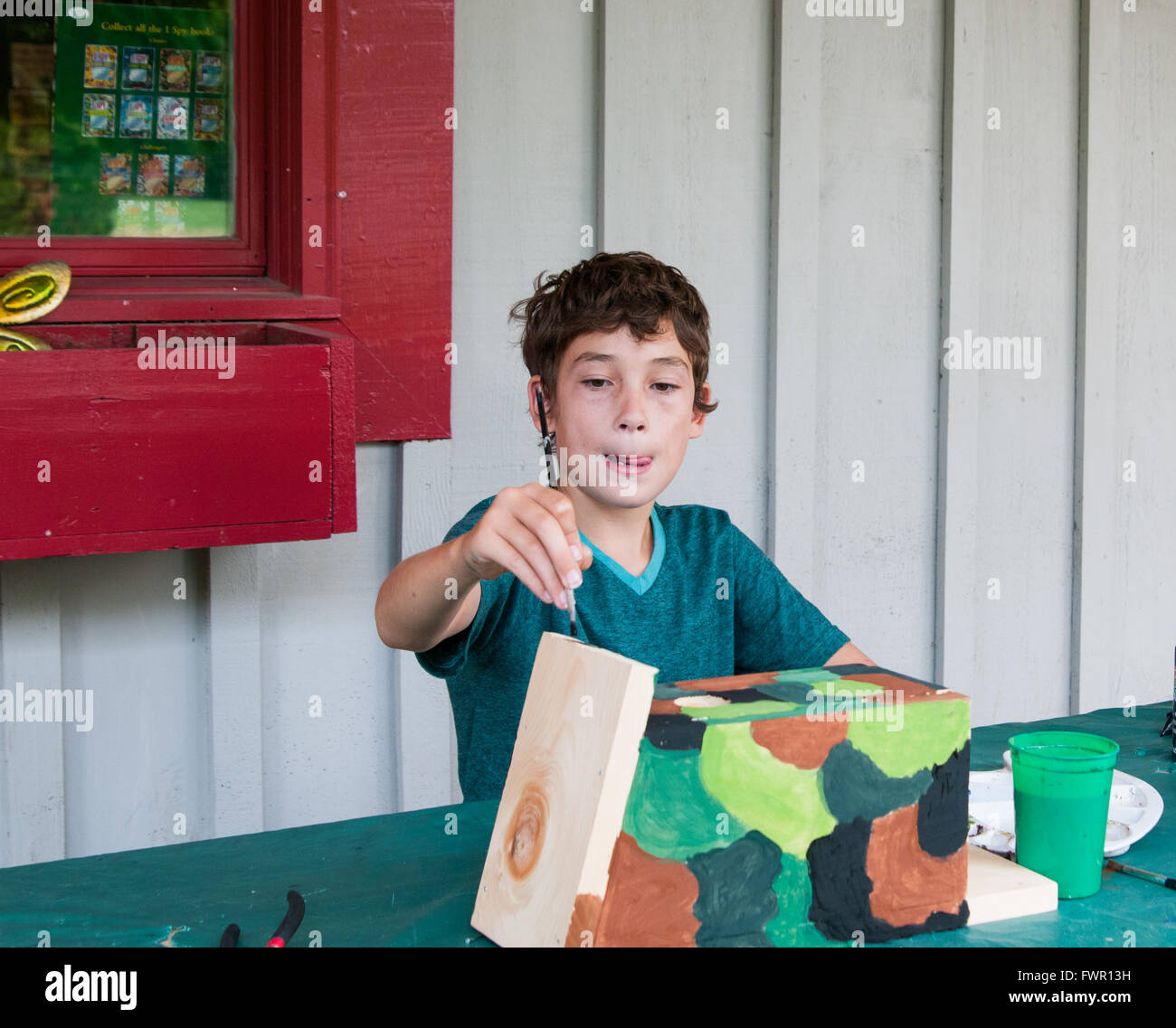 boy at camp painting a birdhouse craft project - Stock Image