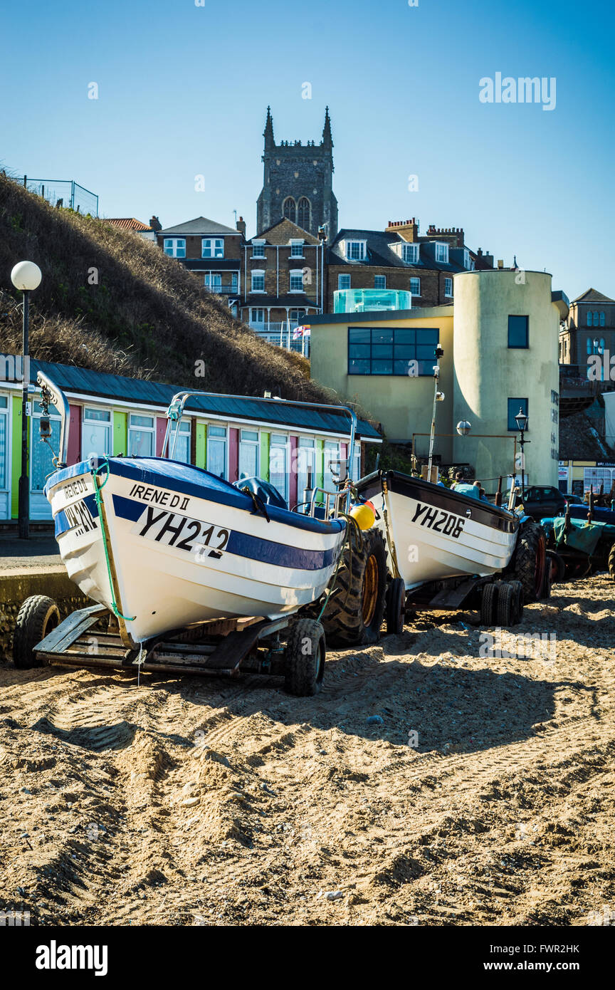 On the beach with Irene at Cromer, Norfolk, England - Stock Image