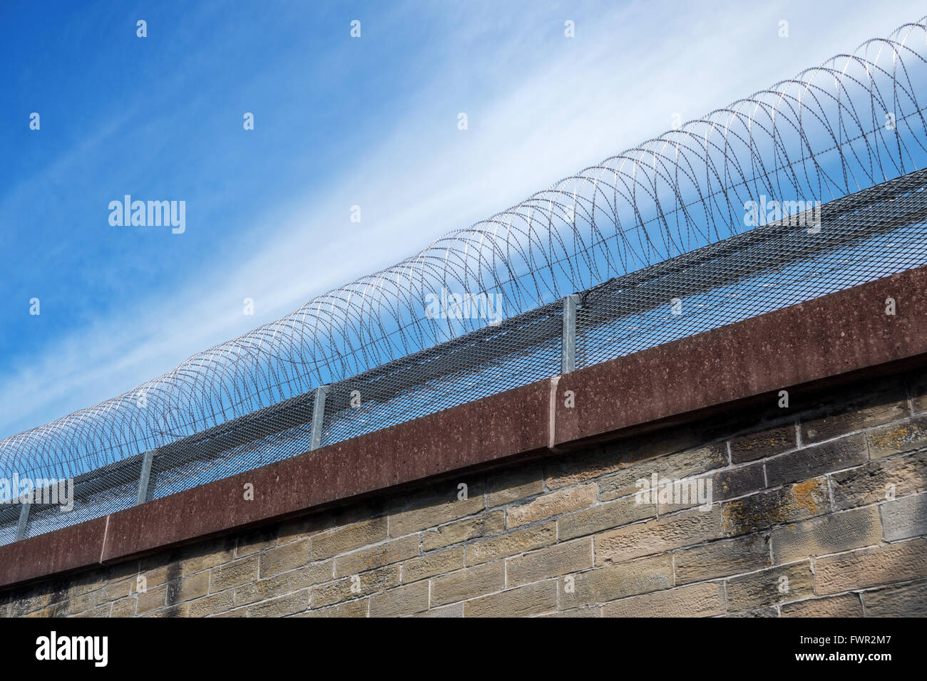 Barbed wire on a wall - Stock Image