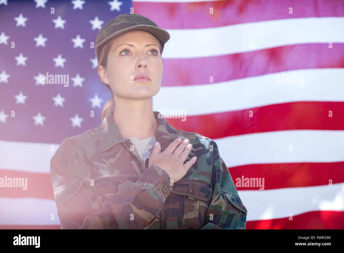 Soldier taking pledge - Stock Image